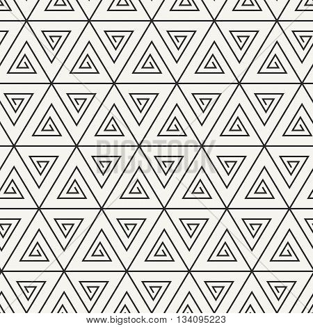 Vector Seamless Pattern. Abstract Stylish Monochrome Geometric Background With Spirally Twisted Tria