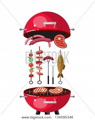 Different kind of meat on the grill illustration. picnic or Bbq party. Food and barbeque, summer and grill. Vector barbeque party, illustration barbeque party