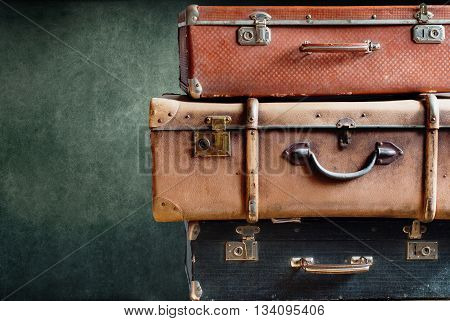 Vintage Stack Ancient Suitcases Concept Travel