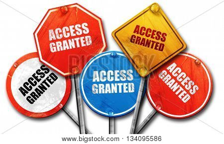 access granted, 3D rendering, rough street sign collection