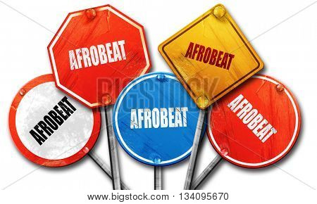 afrobeat music, 3D rendering, rough street sign collection