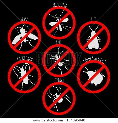 Banned beetles set on black background. Banned insects for design icons logo print or else. Mosquito wasp colorado beetle fly ant spider and cockroach. Vector illustration.