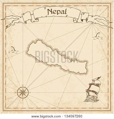 Nepal Old Treasure Map. Sepia Engraved Template Of Pirate Map. Stylized Pirate Map On Vintage Paper.