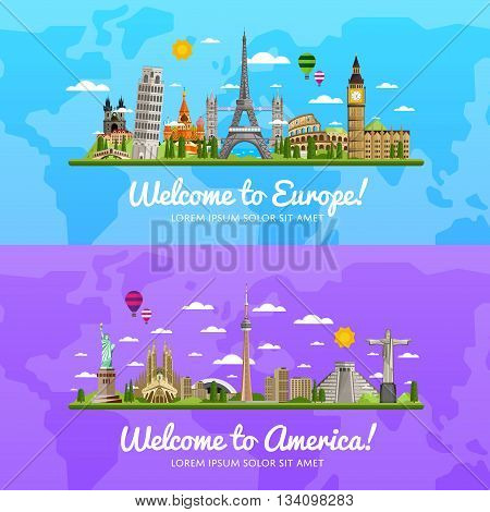 Welcome to Europe and America, travel on the world concept, traveling flat vector illustration.