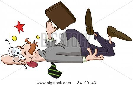 Businessman slipping and collapsed on the ground
