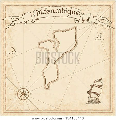 Mozambique Old Treasure Map. Sepia Engraved Template Of Pirate Map. Stylized Pirate Map On Vintage P