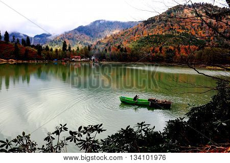 A villager pulling oar in his green bout with forest background in the Lake Karagöl, Artvin, Blacksea