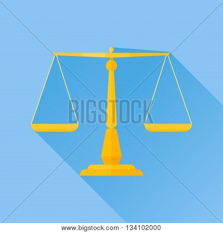 Scales of justice flat icon with long shadow on blue background. Vector illustration.