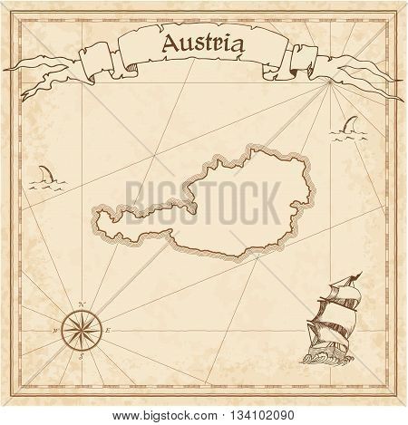 Austria Old Treasure Map. Sepia Engraved Template Of Pirate Map. Stylized Pirate Map On Vintage Pape
