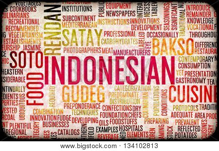 Indonesian Marketing Food and Cuisine Menu Background with Local Dishes