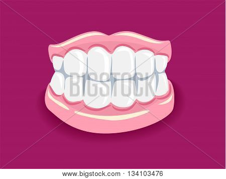 Vector Illustration of Dentures with Pink Background