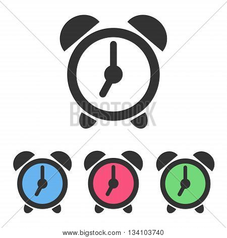 Set of alarm clock icons signs symbols with color clockfaces isolated on white background