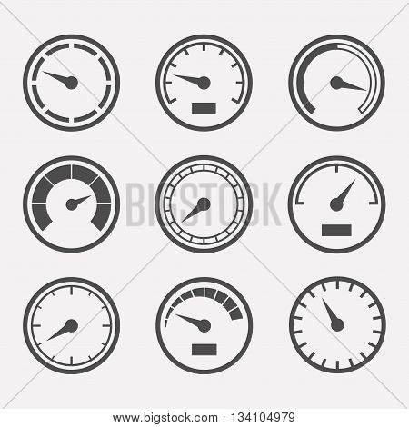 Circular meter vector set. Collection of round gauges. Simple icons meters isolated from the background. Black symbols speedometer tachometer and manometer. Rating meter illustration.