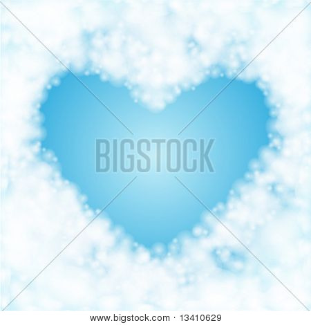 Heart from clouds vector background