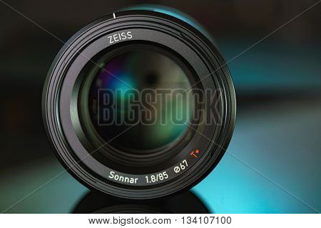 BERLIN, GERMANY - June 06, 2016: Camera Lens Zeiss Batis 85mm f/1.8 Lens for Sony E Mount