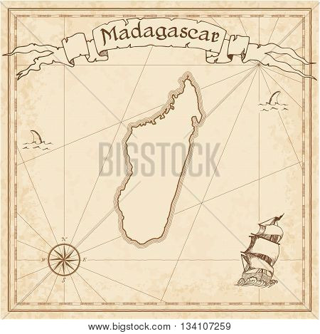 Madagascar Old Treasure Map. Sepia Engraved Template Of Pirate Map. Stylized Pirate Map On Vintage P