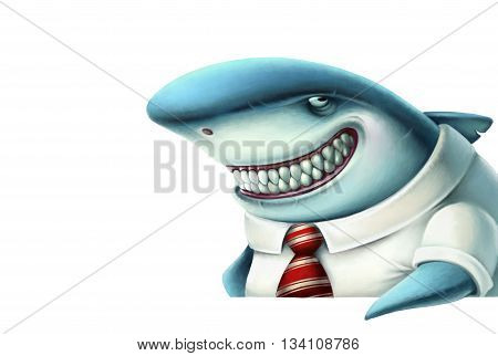 Illustration of business shark smiles slyly, cartoon