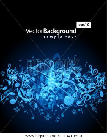 Blue music background with fly notes