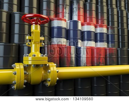 Oil pipe line valve in front of the flag of Norway on the oil barrels. Norwegian gas and oil fuel energy concept. 3d illustration