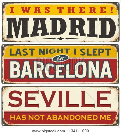 Unique retro tin sign collection with cities in Spain. Vintage vector souvenir sign or postcard templates. Travel theme. Places to visit and remember.
