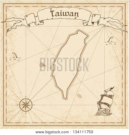 Taiwan, Republic Of China Old Treasure Map. Sepia Engraved Template Of Pirate Map. Stylized Pirate M