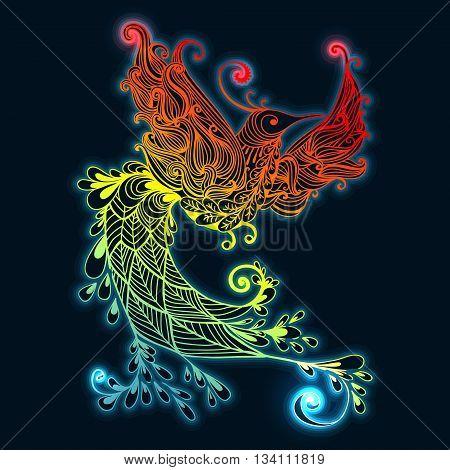 Illustration of flying Phoenix Bird. Fire burning colibri bird with dark blue background.