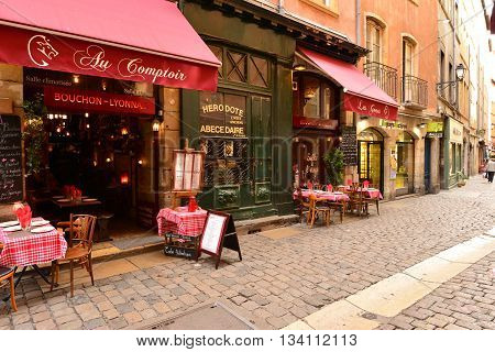 Lyon France - april 13 2016: restaurant in saint Jean district in the old historical Lyon