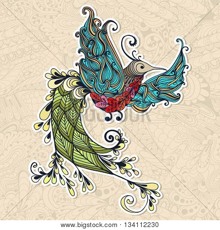 Illustration of flying Phoenix Bird. Colibri bird on seamless doodle background. Spring colorfull bird.