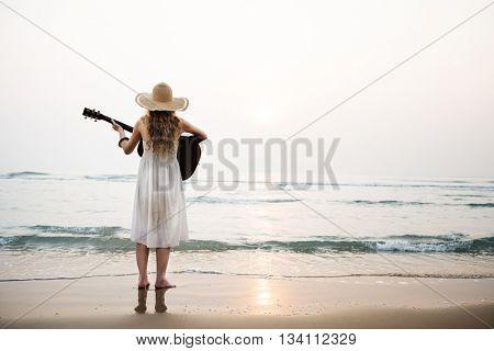 Woman Guitar Lady Rhythm Beach Holiday Girl Concept