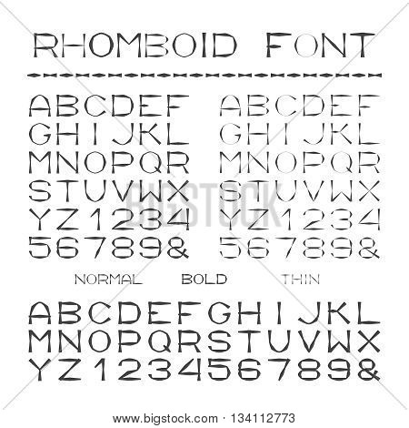 Vector Rhombic Alphabet With Capital Letters In Flat Style