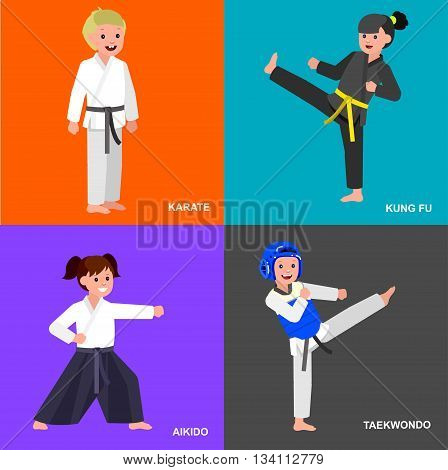 Cute vector character child. Illustration for martial art taekwondo, karate, aikido, kung fu. Kid wearing kimono and training. Child take fighting pose