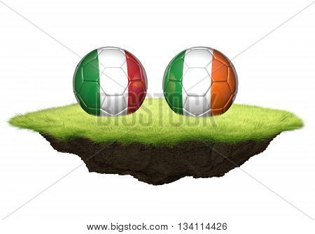 Italy vs Ireland team balls for football championship tournament, 3D rendering