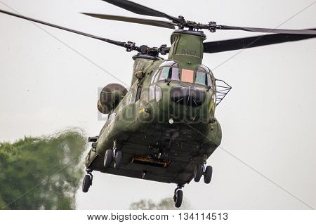 LEEUWARDEN THE NETHERLANDS - JUN 10 2016: Front view of a landing Chinook transport helicopter