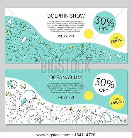 Vector horizontal banner templates suitable for oceanarium or dolphinarium. Doodle dolphin show background. For posters, cards, brochures, souvenirs, invitations and flyers, website designs.