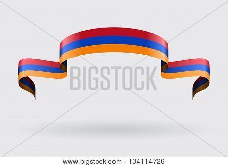 Armenian flag wavy abstract background. Vector illustration.