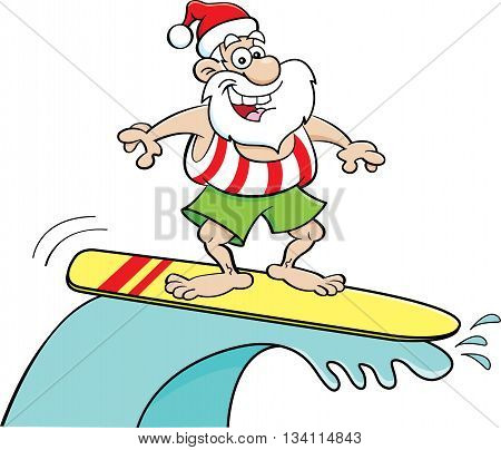 Cartoon illustration of Santa Claus riding a surfboard.