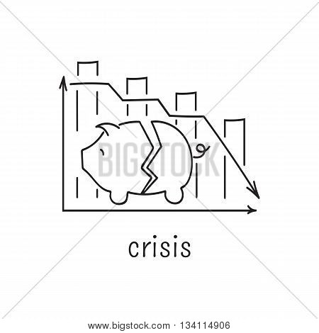 Hand drawn thin line icon, vector logo template illustration. Crisis and inflation. Piggy bank and diagram symbols. Black on white pictogram. Simple mono linear modern design.