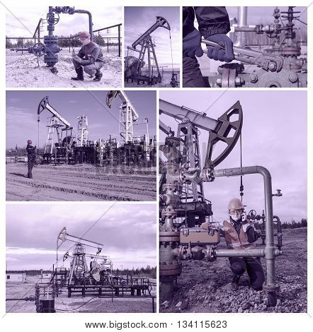 Collage consisting of pictures of pump jackman engineer near well head another man talking on the radio woman engineer repairing well head. Oil and gas concept. Toned.