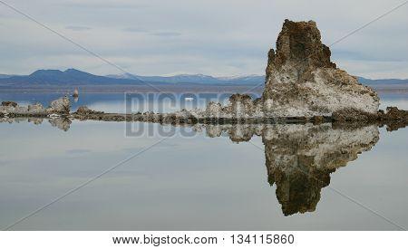 Reflection of a Tufa Formation in Mono Lake, California, Near Mammoth Lakes and Yosemite National Park.