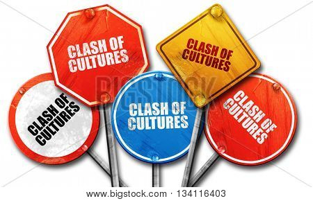 clash of cultures, 3D rendering, rough street sign collection