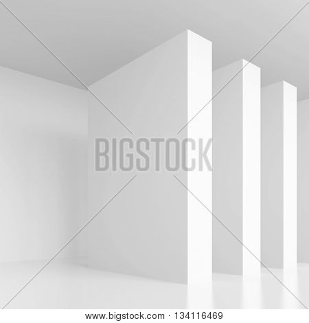 3d Rendering of White Empty Hall. Modern Architecture Background. Minimal Interior Design