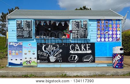 Felixstowe, Suffolk, England - May 03, 2016: Seafront Refreshment Kiosk on Promenade Felixstowe Suffolk England sells ice cream and hot drinks to day trippers and holiday makers.