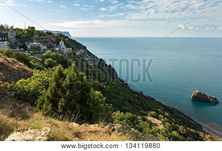 SEVASTOPOL, RUSSIA - JUNE 09, 2016: Svyato Georgievskiy monastery on cape Fiolent. Heraclean peninsula on the southwest coast of Crimea. Balaclava district of Sevastopol.