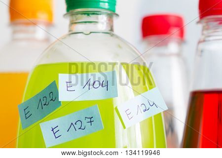 Unhealthy poisonous chemical carbonated drinks and ingredients