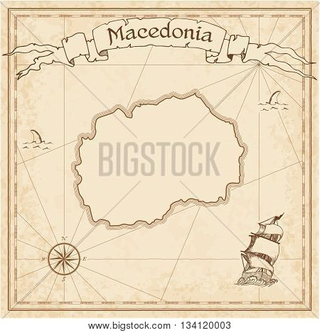 Macedonia, The Former Yugoslav Republic Of Old Treasure Map. Sepia Engraved Template Of Pirate Map.
