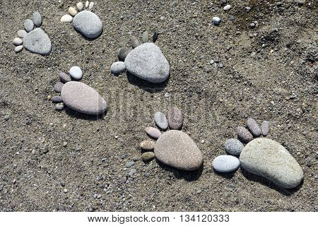Foot Prints Of Stones