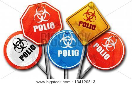 Polio concept background, 3D rendering, rough street sign collec