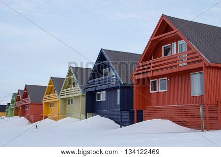 A city details of Longyearbyen - the most Northern settlement in the world. Svalbard, Norway.