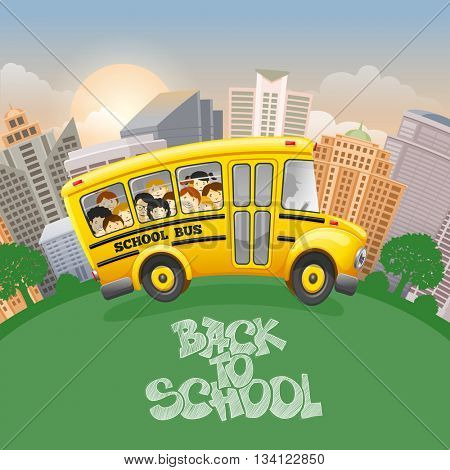 Back to school inscription by chalk and cute cartoon school bus with cheerful pupils. Modern city on background. Hand drawn lettering. Back to school concept. Vector illustration.