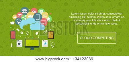Cloud computing. Web banner slider or vector flat background.